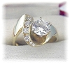 Click to view larger image of Ring 14 K Gold 1 1/4 round Channel Set CZ's (Image5)