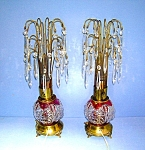 Click here to enlarge image and see more about item 0504200701a: PAIR VINTAGE CRYSTAL TEARDROP WATERFALL LAMPS .....