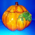 Click here to enlarge image and see more about item 04300705: CERAMIC PUMPKIN BOWL WITH LID . . .