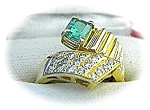 Ring 14K Yellow Gold 1 ct Emerald and Diamond