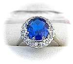 Ring 14 K White Gold Synthetic Sapphire & Diamond