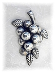 Click to view larger image of HUGE Mexican Sterling Silver Grape Brooch (Image1)