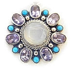 Necklace Sterling Silver Moonstone Amethyst Turquoise