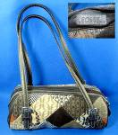Click here to enlarge image and see more about item 0503200904: Fossil Leather and Microfibre Patch Look Handbag