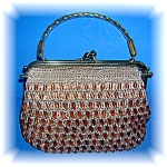 Click here to enlarge image and see more about item 0504200614: Brass Frame Straw Plastic Beaded Silk Lined Bag