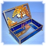 Click to view larger image of Vintage Hand Made Leaded Glass Box (Image1)