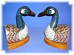 Click here to enlarge image and see more about item 0505200681: Wood  Hand Painted Goose Book Ends From the 80s