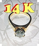 Click to view larger image of Ring 14K Gold 1 1/2 Ct Moissanite Diamond  (Image1)