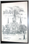Click here to enlarge image and see more about item 0506200624: St Louis Cathederal New Orleans Print 1981