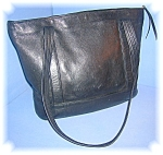 Click to view larger image of Black Leather Tote Bag Jean Olson Colorado (Image1)
