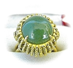 Ring  14K Yellow Gold Cabochon Jade