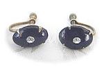Sterling Silver Black Bakelite/Lucite Earring