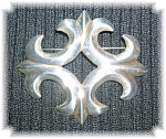 Large Antique Silver Sandcast Brooch