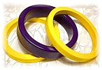 2 Banana Yellow & 1 Black Bakelite Bangles