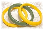 2 Golden Yellow & 1 Bright Green Bakelite Ban