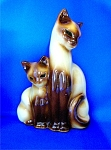 Click to view larger image of Vintage Kron TV Lamp Siamese Cats ..... (Image1)