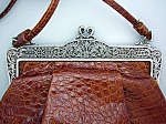 Leather Brighton handbag purse tan moc croc . . .