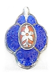 Click to view larger image of Beautiful Silver & Porcelain European Pendant (Image1)