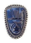 Click to view larger image of Beautiful Large Black Onyx & Silver Face Pend (Image1)