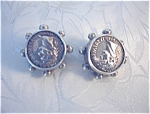Beautiful Sterling Silver Roman Emporer Clip Earrings