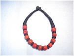 Coral Black Cord  Necklace Estate Piece