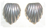 Sterling Silver Vintage Shell Clip Earrings