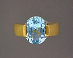 Ring 18K Gold 2 1/2 ct Blue Topaz
