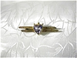 Click here to enlarge image and see more about item 05270316:  European Gold Victorian 3ct Heart Amethyst  Bar Brooch