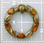 Click to view larger image of Citrine and Silver Leaves English Scarf  Dress Clip (Image7)