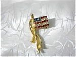 Crystal Red White and Blue Old Glory Flag Pin