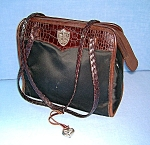 Click to view larger image of Brighton Leather Tan Black Micro Fibre Purse Bag (Image1)