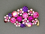 WEISS Pink Purple Pink Flower Brooch
