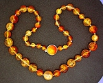 Click to view larger image of Lucite Amber Color Necklace Hong Kong (Image1)