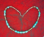 Native American Sterling Silver Turquoise Beads Necklac