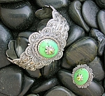 Click to view larger image of Sterling Silver Artist Mojave  Green Turquoise Peridot  (Image1)