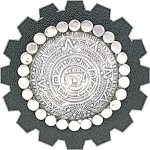 Click to view larger image of Sterling Silver Taxco Mexico TRM  Aztec Calender Pin (Image1)