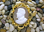 Click here to enlarge image and see more about item 06022008007: Cameo Lord Byron Set in Antique Pinchbeck