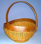 Click to view larger image of Wicker and Wood Handmade Basket (Image1)