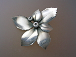 Click here to enlarge image and see more about item 0602200810: Danish Sterling Silver Flower Pin  A Michelsen AM
