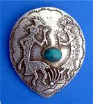 Click to view larger image of Sterling Silver Turquoise Kokopelli Dancers  Pendant (Image1)