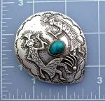 Click to view larger image of Sterling Silver Turquoise Kokopelli Dancers  Pendant (Image2)
