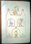 Click here to enlarge image and see more about item 0603200821: Cross Stich  Nursery Rhyme Baby Quilt Hand Made