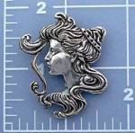 Click to view larger image of Sterling Silver Antique Cameo Face Pendant (Image2)