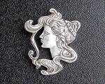 Click to view larger image of Sterling Silver Antique Cameo Face Pendant (Image5)