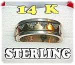 Click to view larger image of Native American 14K Gold Sterling Silver S. SKEETS Ring (Image1)