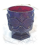 Click here to enlarge image and see more about item 0606200420: 2 Deep Red Cape Cod AVON Candle Holders