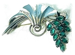 Click here to enlarge image and see more about item 0606200437: Sterling Silver Crystal Spray Art Deco Look Brooch