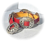 Click here to enlarge image and see more about item 0606200479: Red Leather Silvertone HUGE Concho Belt