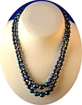 Bead Necklace, Blue Black faceted glass beads