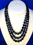 Triple  Graduated Black French Jet - Glass Beads . . .